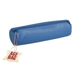 CLAIR FONTAINE LEATHER PENCIL CASE BLUE