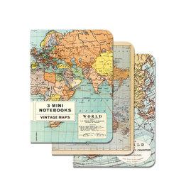 CAVALLINI & CO. MINI NOTEBOOKS VINTAGE WORLD MAP SET/3