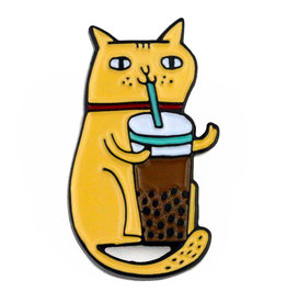 BADGE BOMB ENAMEL PIN BUBBLE TEA CAT
