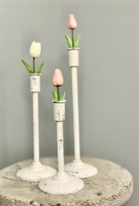 Distressed White Candle Holder- 14.5""
