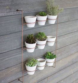 White Wash Clay Pots on Copper Wall Rack