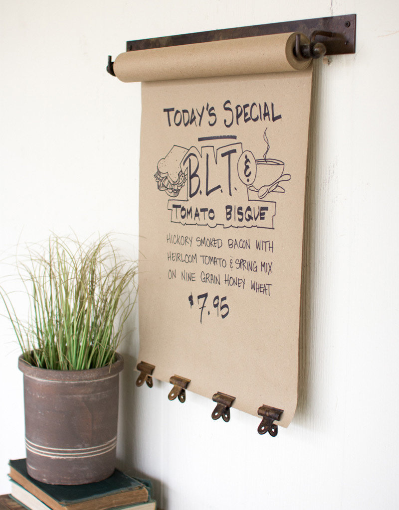 """Hanging Note Roll with 4 antique brass clips- 22"""""""