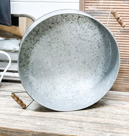 Metal Tray with Wooden Handle   Large