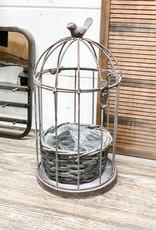 Graywash Metal Birdcage with Basket