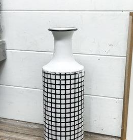 Farmhouse Check Enamel Vase   Large
