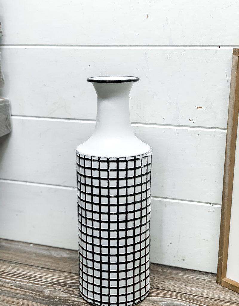Farmhouse Check Enamel Vase | Large