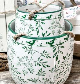 Green Floral Hanging Ceramic Planters | Set/2