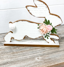 Distressed White Running Easter Bunny