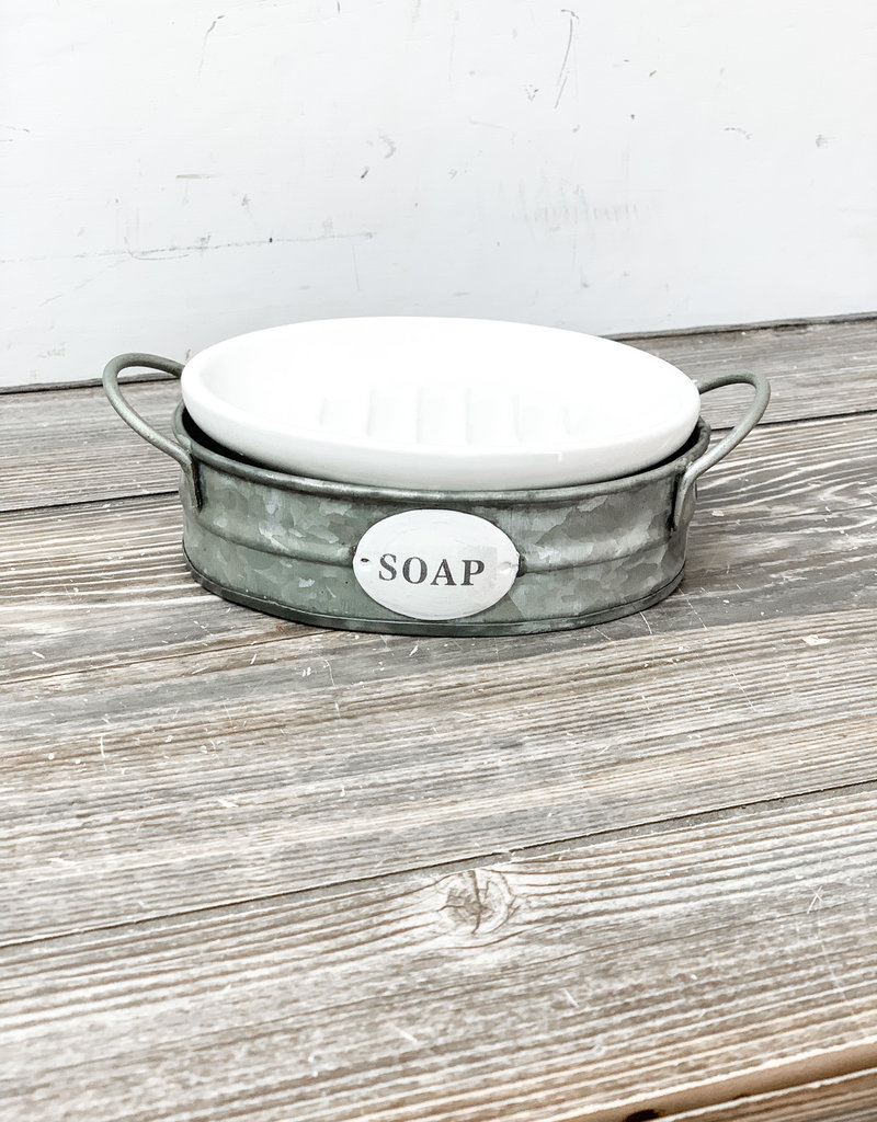 Enamel Soap Dish with Carrier