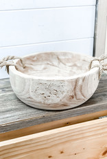 Round Hand Carved Wooden Bowl with Rope Handles
