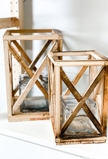 Recycled Wooden Lanterns with Glass Insert | Set of 2