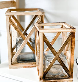 Recycled Wooden Lanterns with Glass Insert   Set of 2