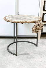 Round Nesting Table w/ Recycled Wood Rope Accent | Small