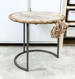 Round Nesting Table w/ Recycled Wood Rope Accent   Small