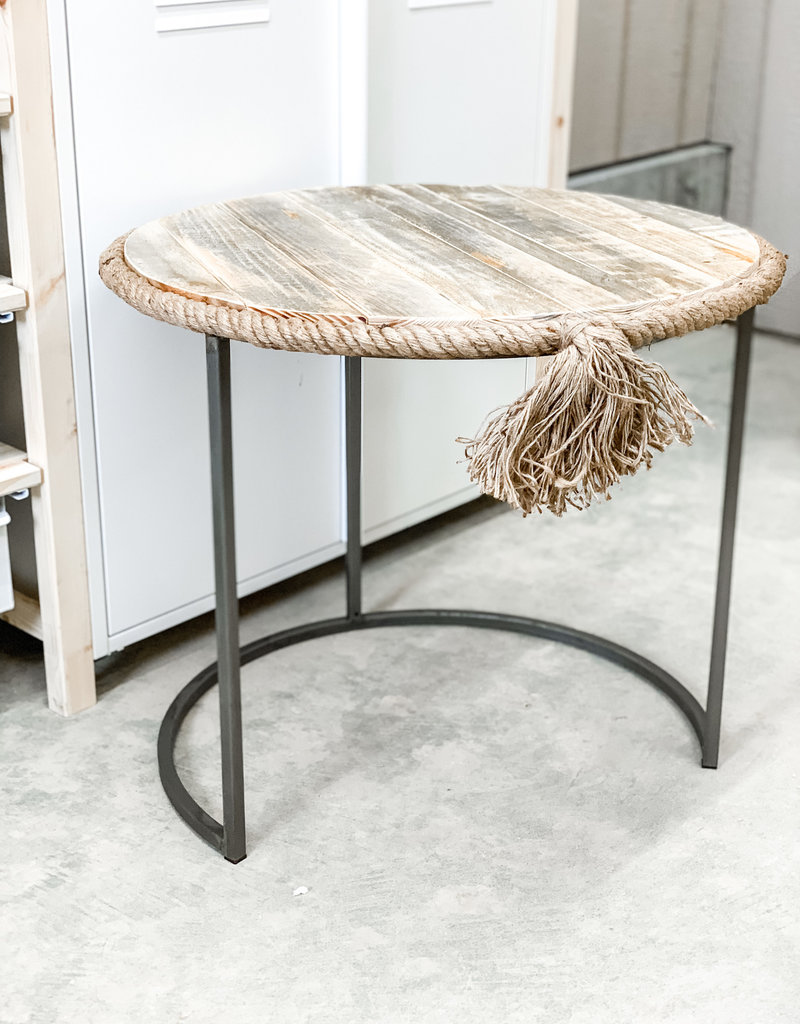 Round Nesting Table w/ Recycled Wood Rope Accent | Large