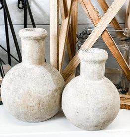 Carved Round Wooden Bottles   Set of 2