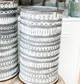 Pressed Tin Bucket with Wooden Handle   Medium