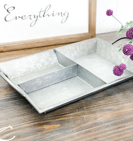 Rectangular Divided Galvanized Tray | 19""