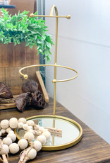 Tabletop Jewelry Stand w/ Mirror Base | Circle