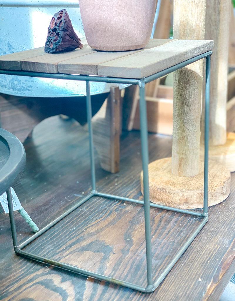 Wood & Metal Tabletop Riser | Tall Square