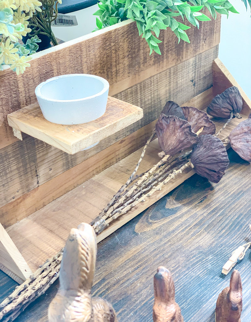 Recycled Wood Wall Decor with Clay Pot & Shelf