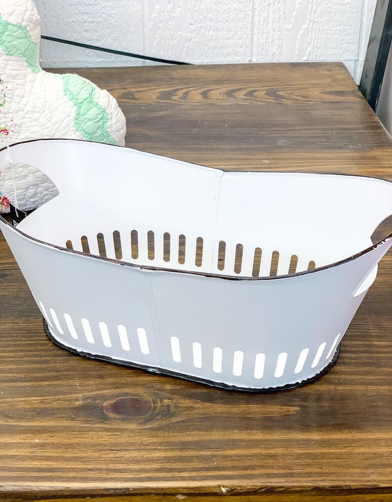 Oval Enamel Tray in White