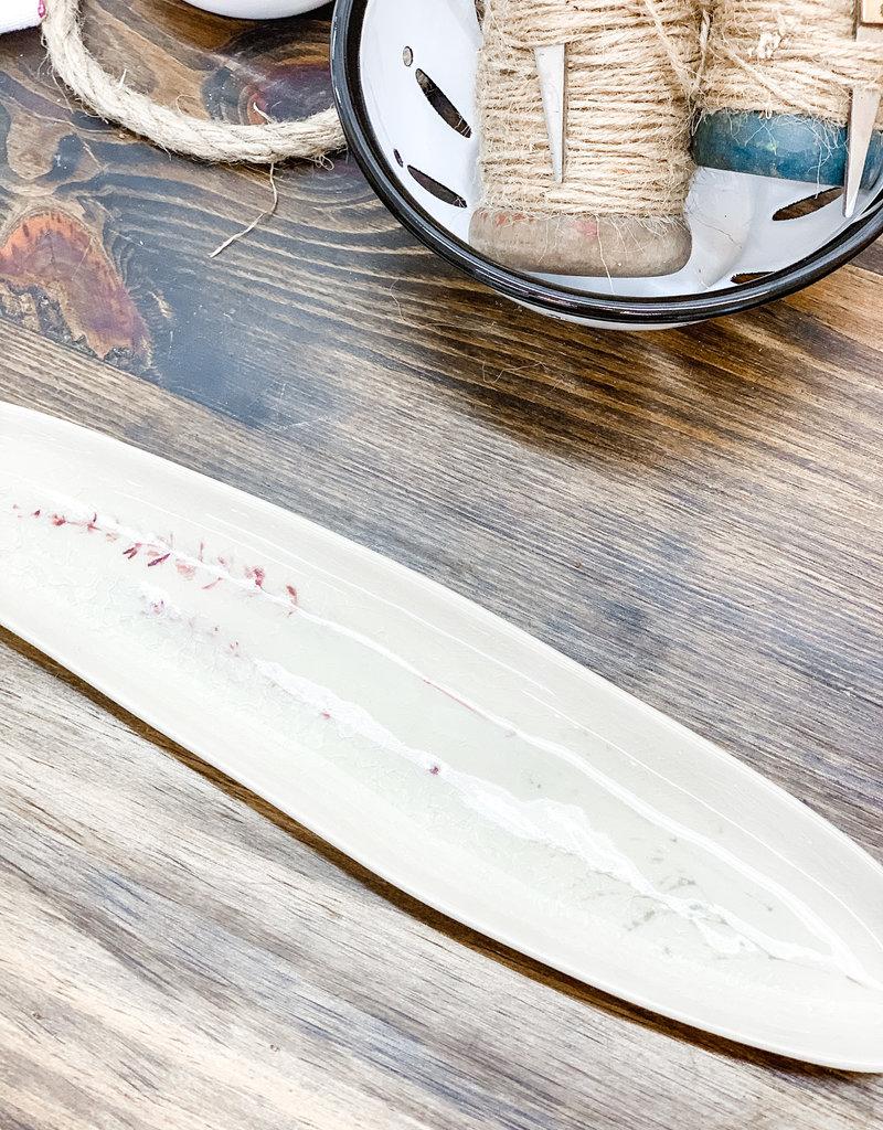 Oval Stoneware Debossed Floral Platter w/ Crackle Glaze