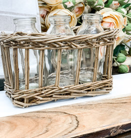 Woven Basket with 3 Glass Jars