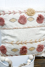 """20"""" Square Cotton Embroidered Pillow w/ Tassels   Cream Color"""