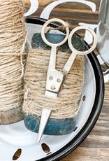 Vintage Wooden Spools w/ Scissors   Small