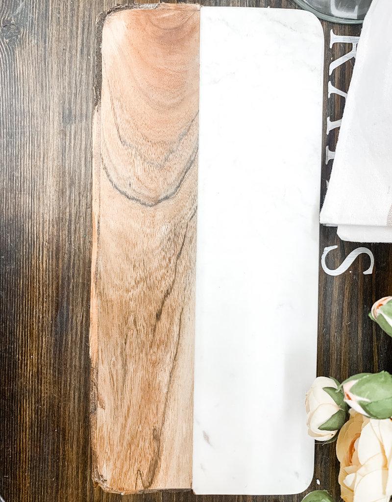 White Marble & Mango Wood Cheese Board w/ Bark Edge