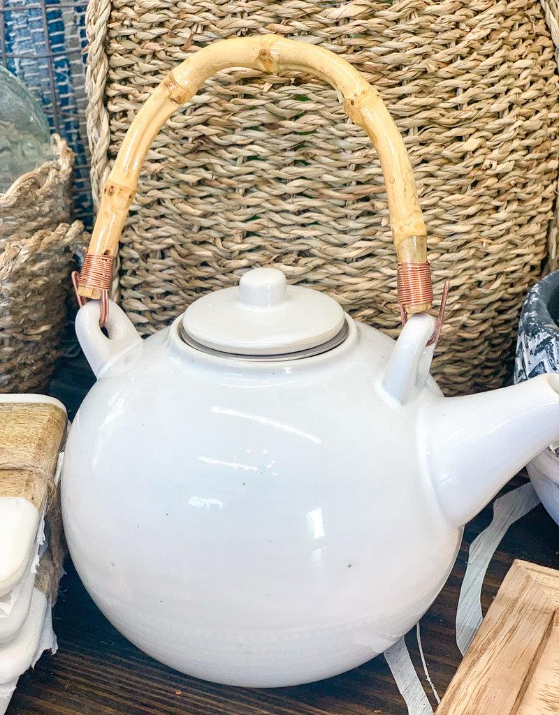 Stoneware Textured Teapot w/ Bamboo Handle