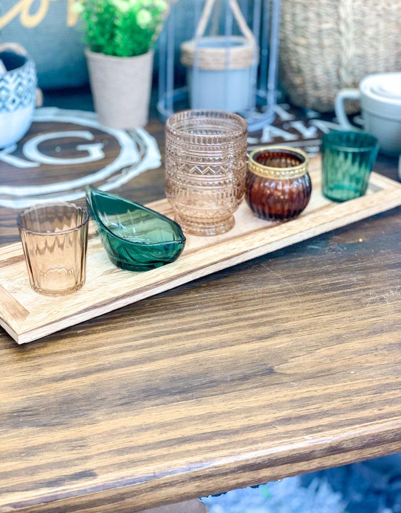Paulownia Wood tray w/ 5 Glass Holders