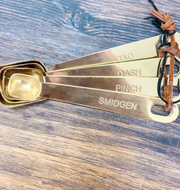 Brass Measuring Spoons w/ Leather Tie