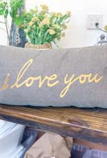 Woven Cotton Houndstooth Lumbar Pillow | I love you More