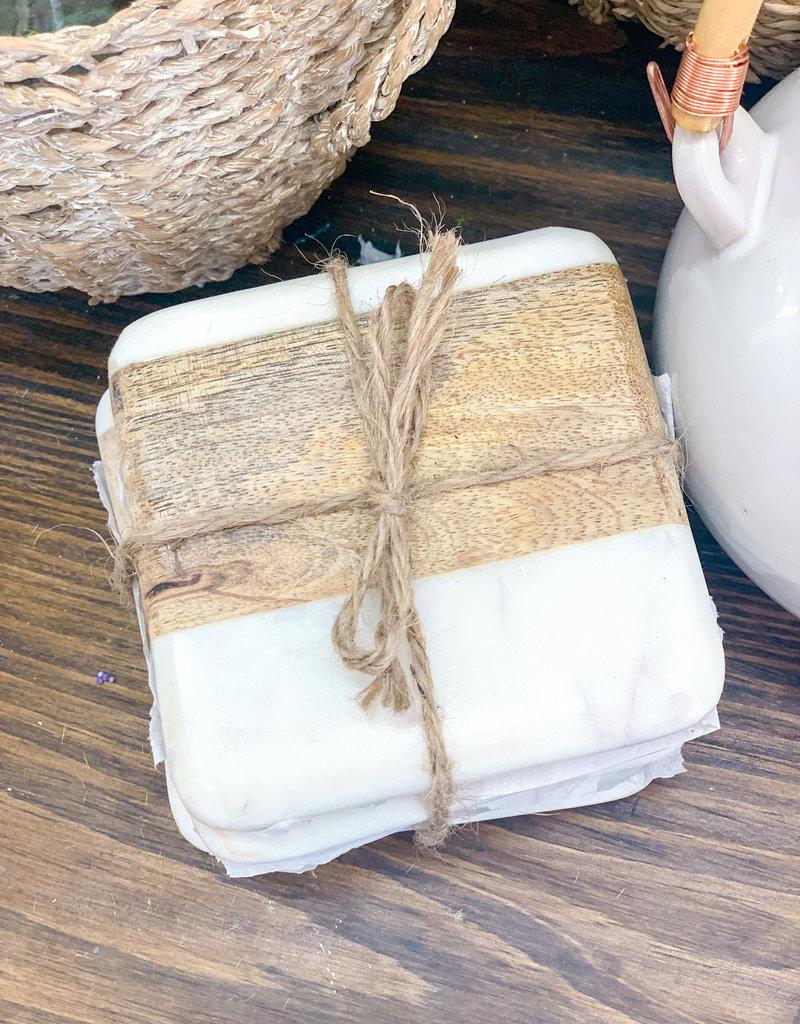 Marble & Acadia Wood Coasters | Set of 4