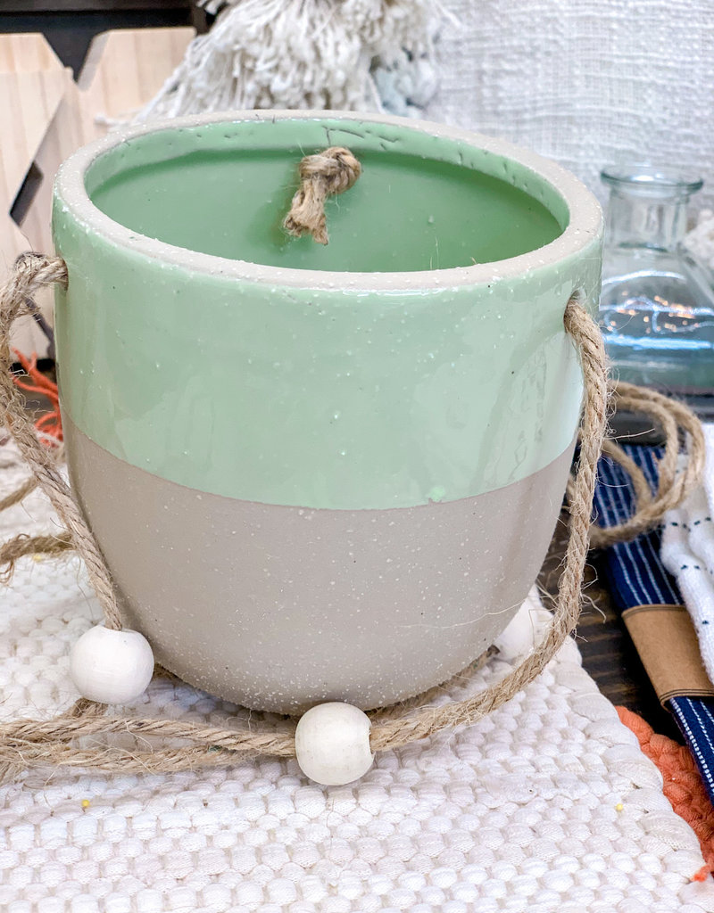 Glazed Stoneware Hanging Planter | Pastel Green