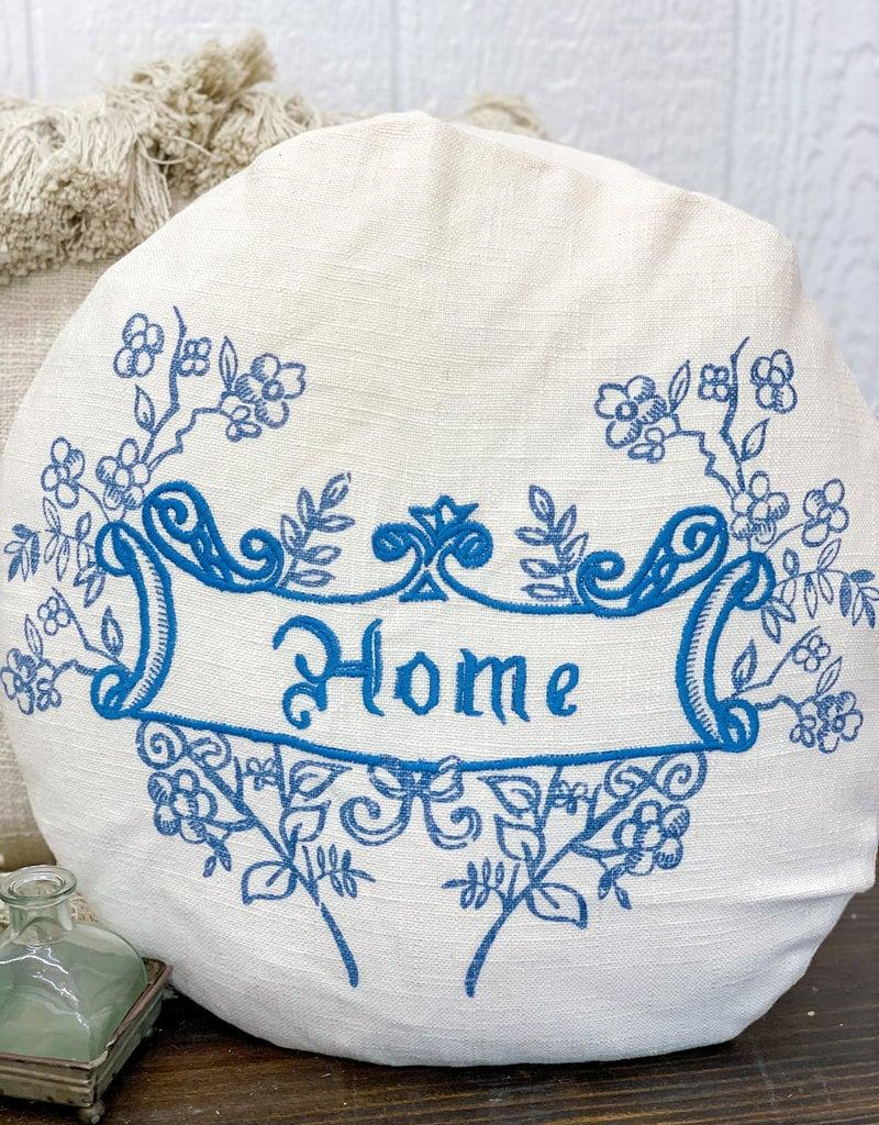 """18"""" Round Linen Home Pillow"""