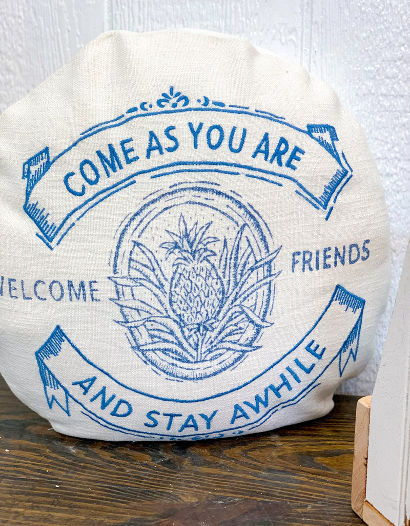 """18"""" Round Linen Come As You Are Pillow"""