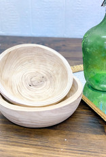 Hand Carved Round Wooden Bowls | Set of 2