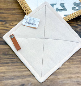 Cotton Pot Holder w/ Leather Loop | White