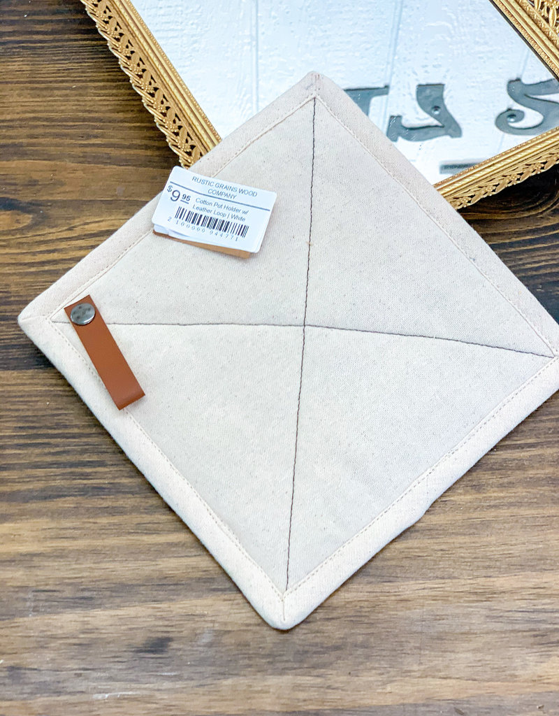 Cotton Pot Holder w/ Leather Loop   White