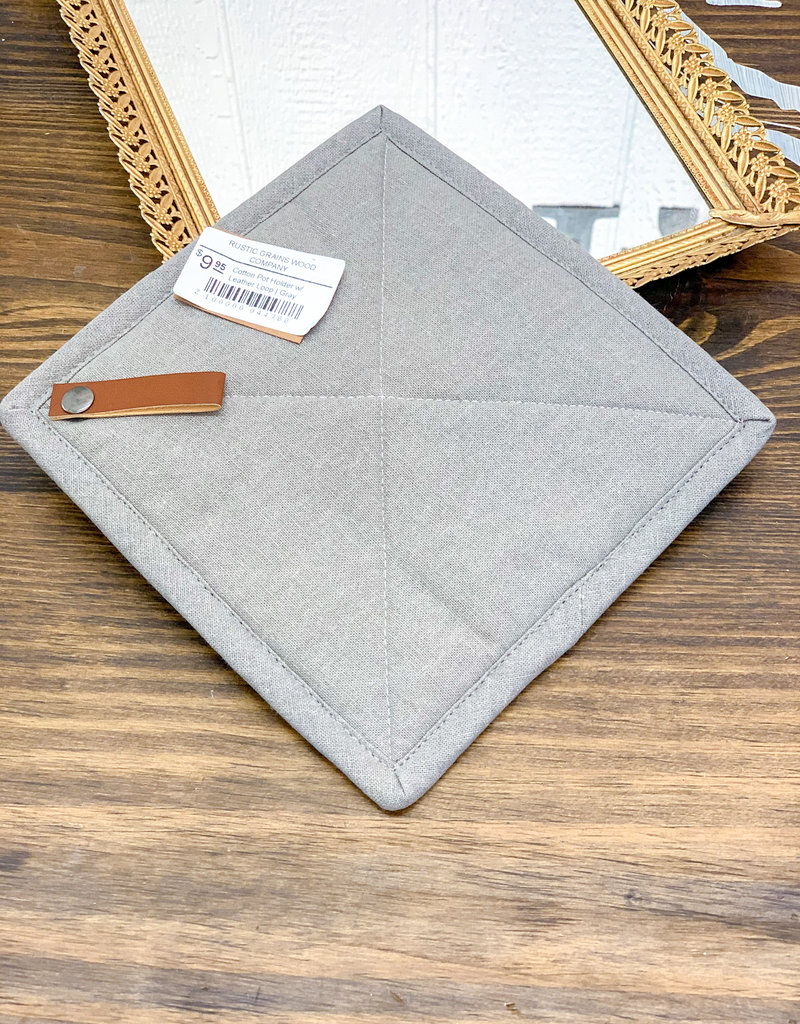 Cotton Pot Holder w/ Leather Loop | Gray