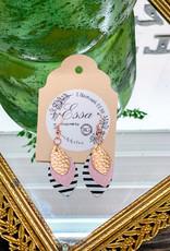 Essa | Pink, Black & Rose Gold Striped Earring