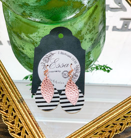 Essa | Pink & Black Stripe Earrings