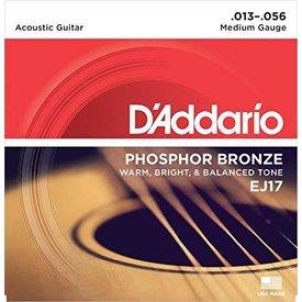 DAddario Fretted EJ17 Phosphor Bronze Acoustic Guitar Strings, Medium, 13-56