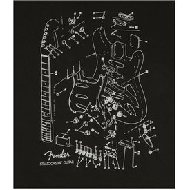 Fender Stratocaster Patent Drawing T-Shirt, Black, XL