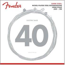 Fender 7250 Bass Strings, Nickel Plated Steel, Long Scale, 7250L .040-.100 Gauges, (4)