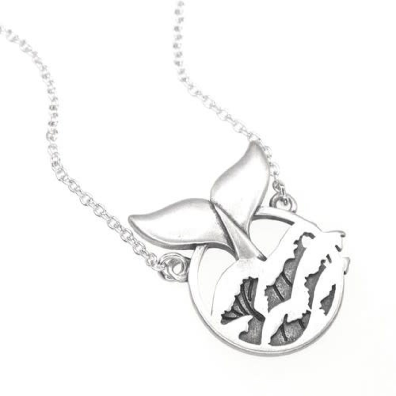 Ocean Wise Whale Tail in Waves Necklace