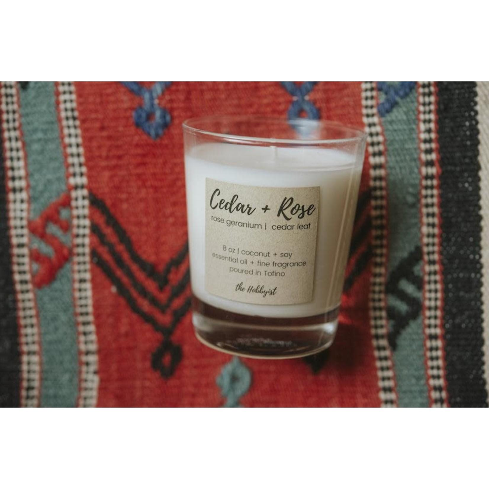 The Hobbyist Cedar + Rose Candle
